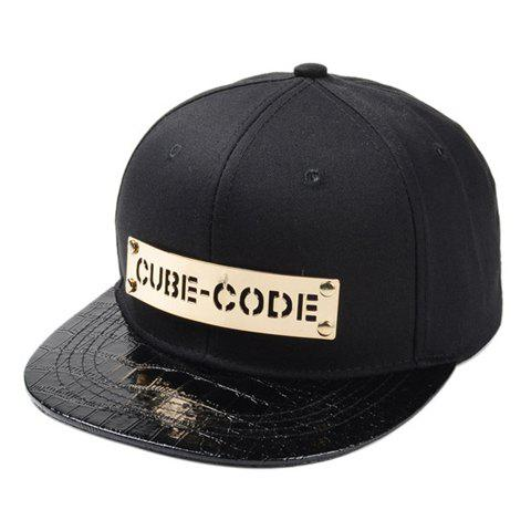 Stylish Openwork Letters Alloy and PU Brim Embellished Men's Baseball Cap - BLACK