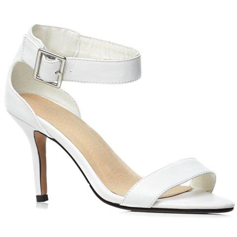 Trendy Solid Color and Ankle-Wrap Design Women's Sandals - WHITE 39