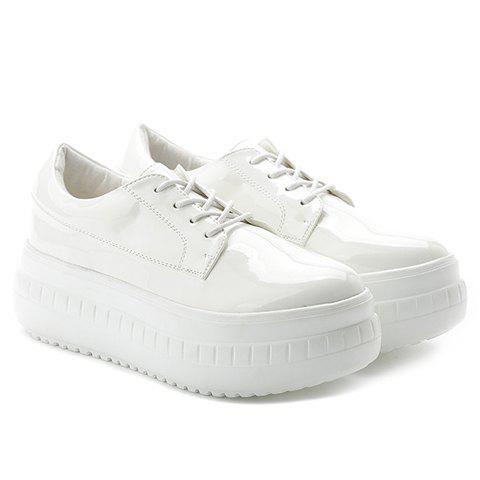 Trendy Lace-Up and Patent Leather Design Platform Shoes For Women - WHITE 35