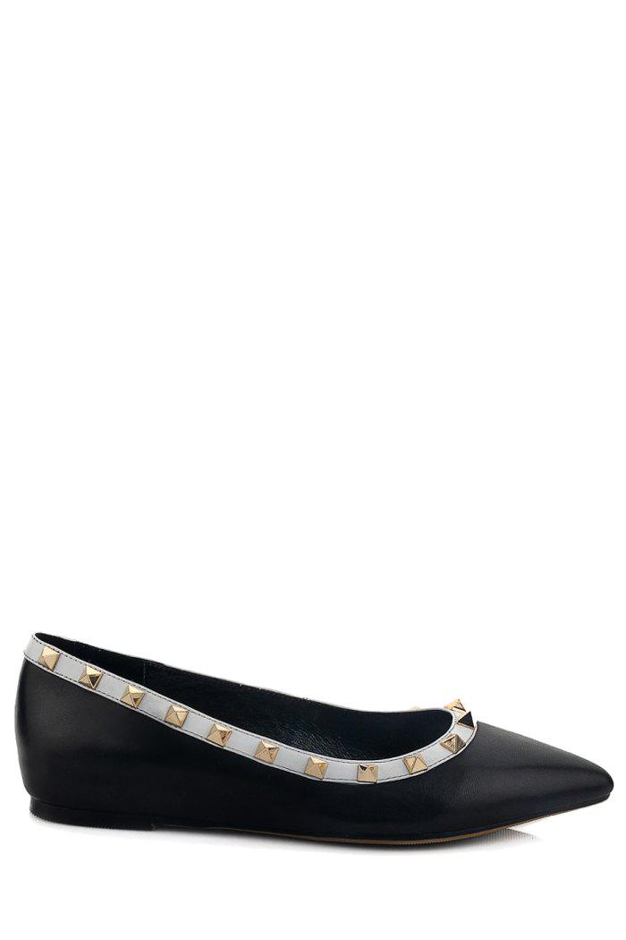 Trendy Black and Rivets Design Flat Shoes For Women