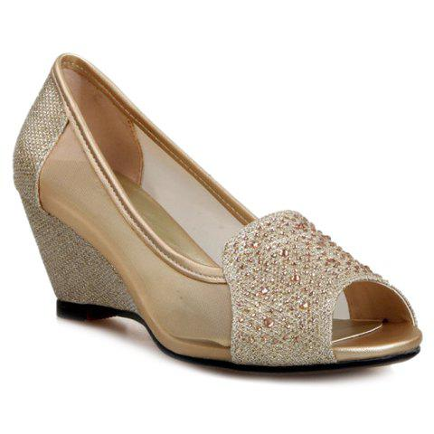 Simple Rhinestones and Peep Toe Design Wedge Shoes For Women - GOLDEN 36