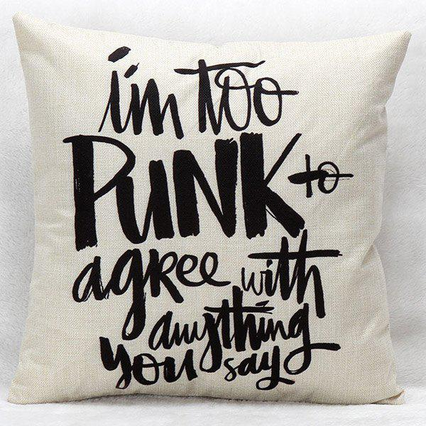 High Quality Punk Style Letter Pattern Printed Square Shape Pillow Case(Without Pillow Inner) - WHITE/BLACK