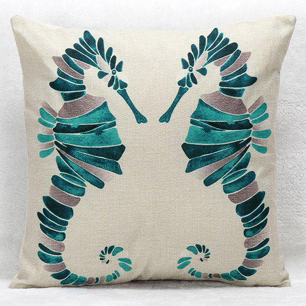High Quality Geometric Pattern Hippocampus Square Shape Pillow Case(Without Pillow Inner)