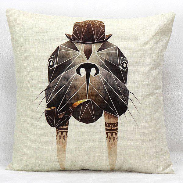 High Quality Geometric Pattern Walrus Printed Square Shape Pillow Case(Without Pillow Inner)