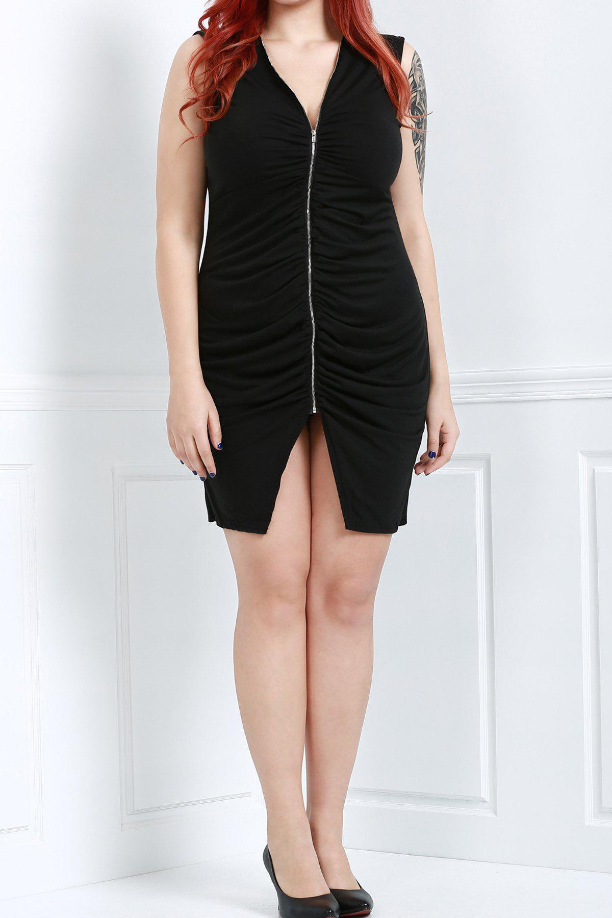 Sexy Plunging Neck Black Cut Out Plus Size Sleeveless Women's Bodycon Dress