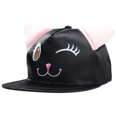 Cute Cartoon Animal Expression Embroidery Cat Ear Baseball Cap For Women - BLACK