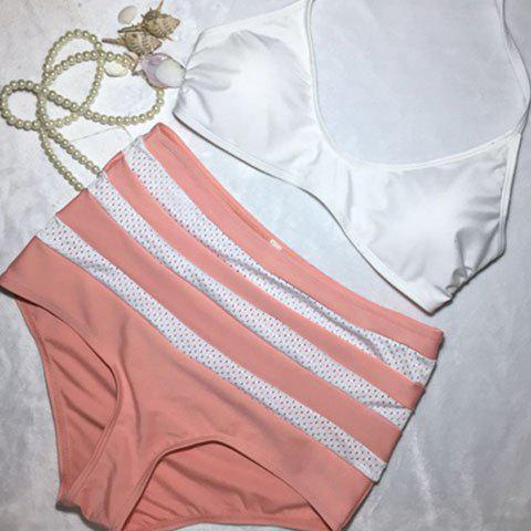 Sexy Halter Neck Striped Spliced High Waist Women's Bikini Set - RED/WHITE XL