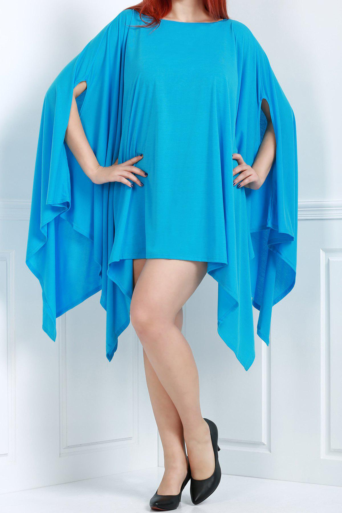 Handkerchief Plus Size Caped Top with Batwing Sleeve - AZURE S