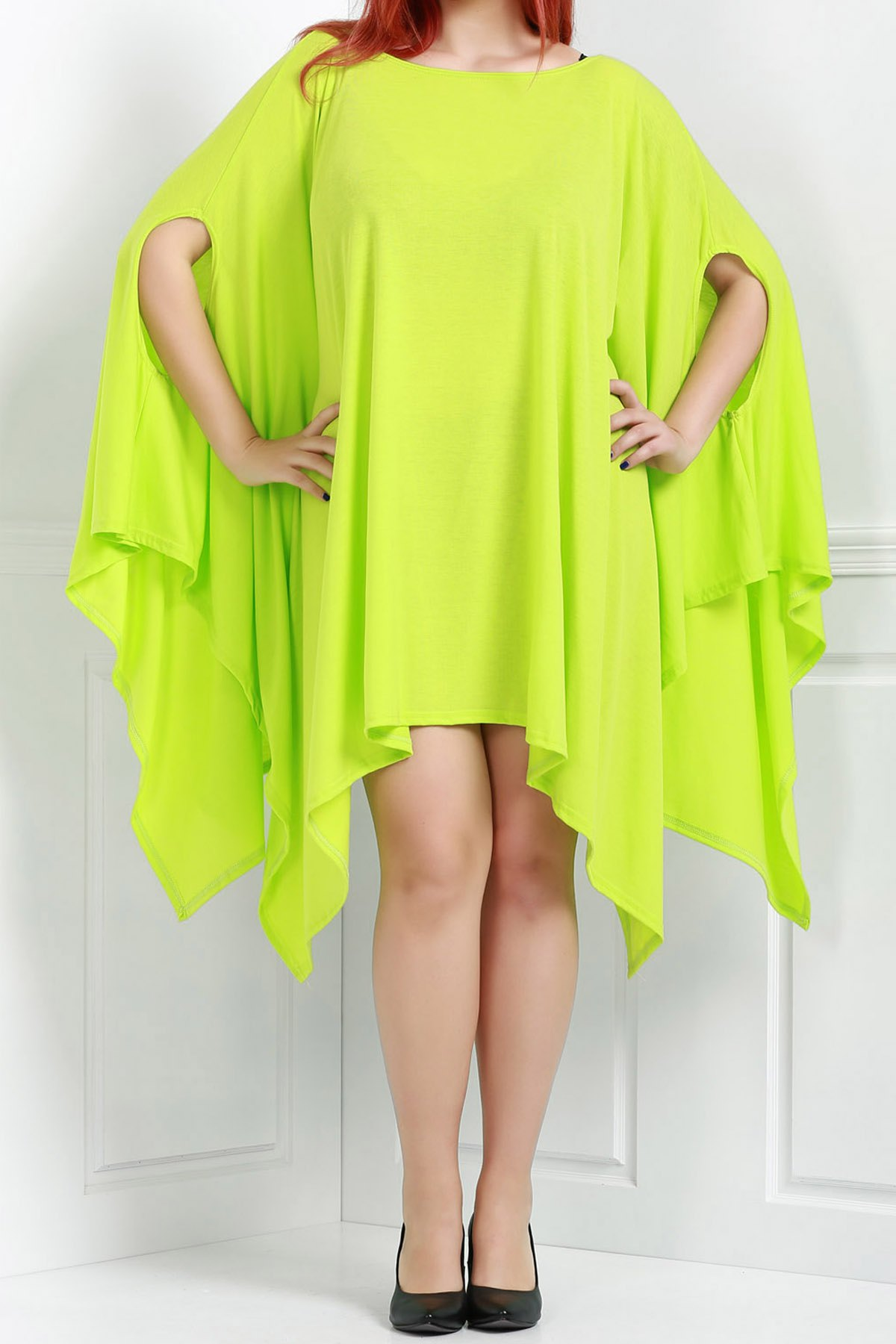 Handkerchief Plus Size Caped Top with Batwing Sleeve - GREEN 2XL