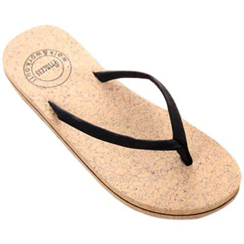 Concise Solid Color and Flip Flop Design Women's Slippers - BLACK 39