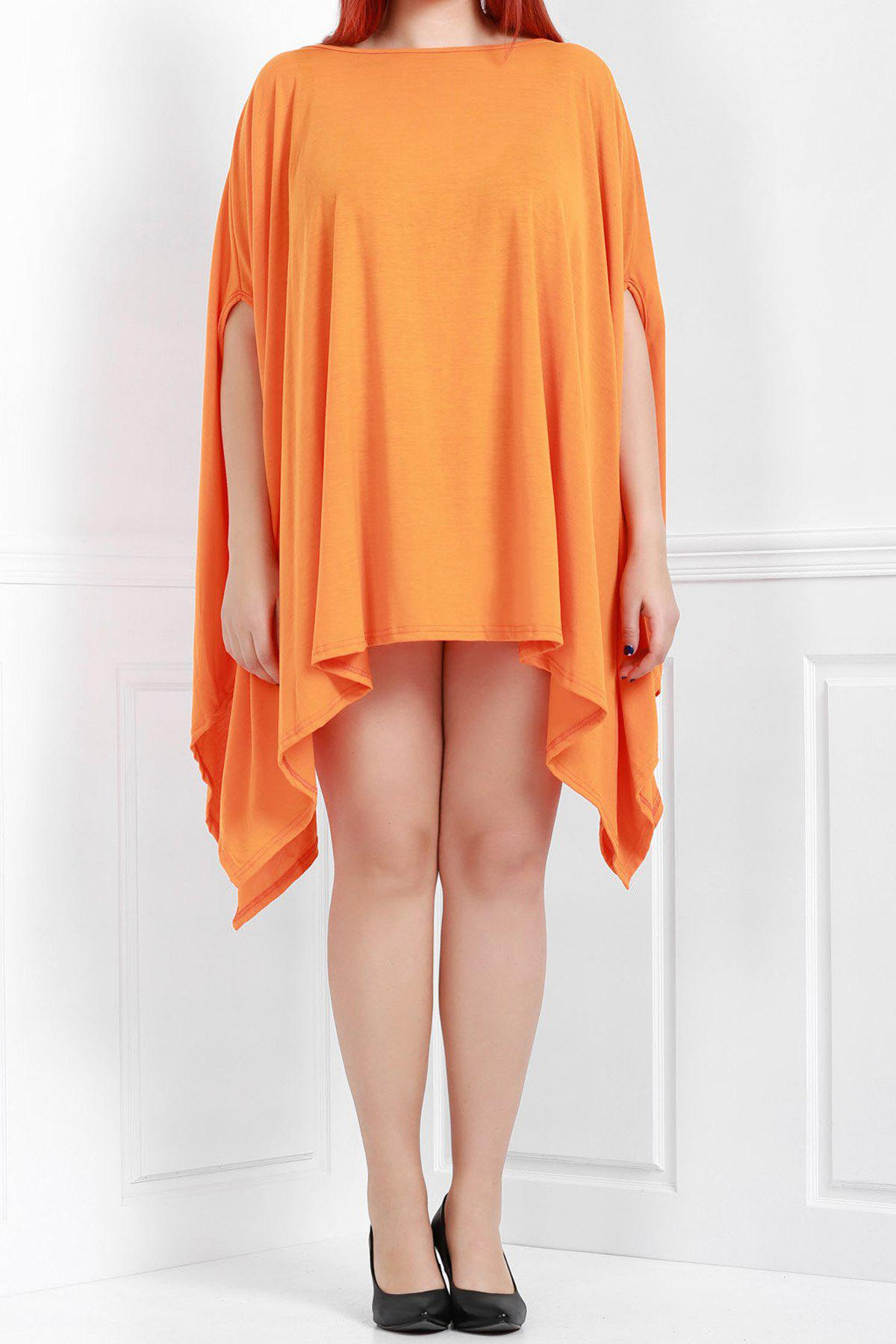 Handkerchief Plus Size Caped Top with Batwing Sleeve - ORANGE 2XL