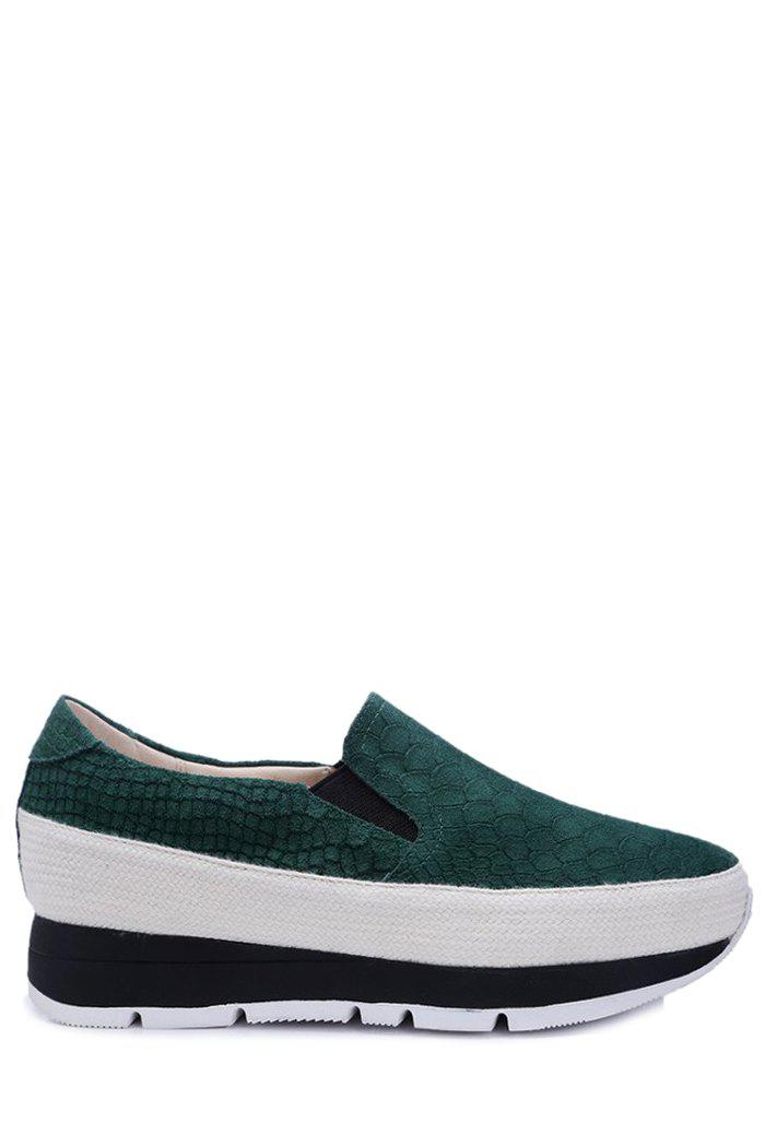 Casual Embossing and Solid Color Design Platform Shoes For Women - GREEN 36