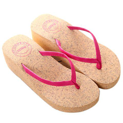 Simple Suede and Wedge Heel Design Women's Slippers