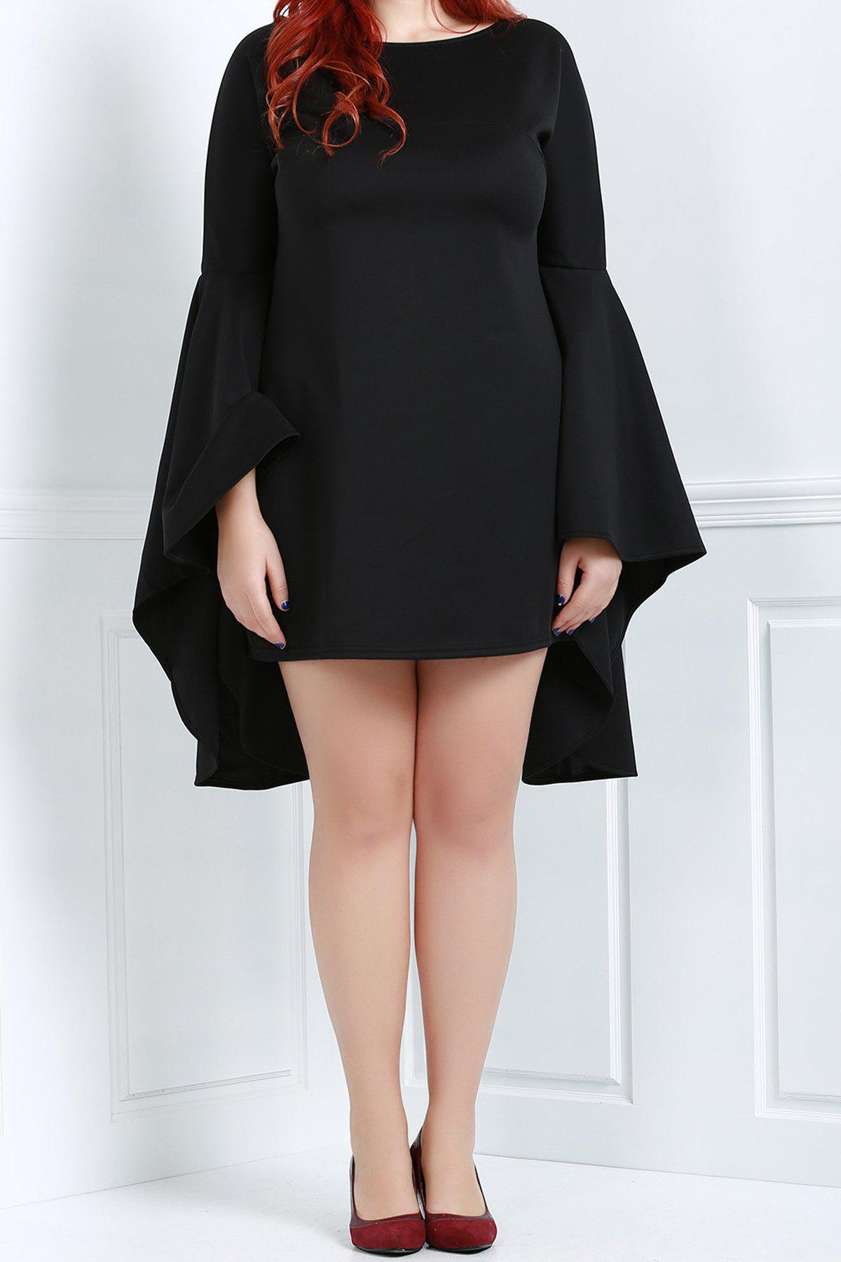 Stylish Black Boat Collar Long Bell Bottom Sleeve Plus Size Dress For Women - BLACK 3XL