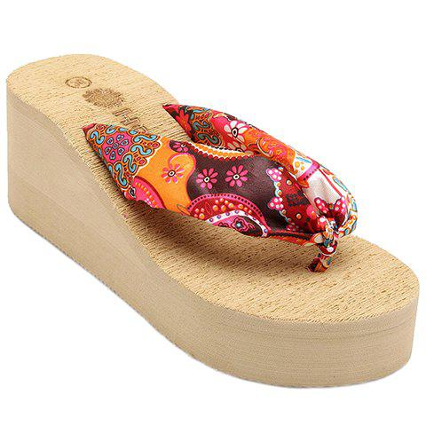 Casual Satin and Floral Print Design Women's Slippers - CAMEL 36