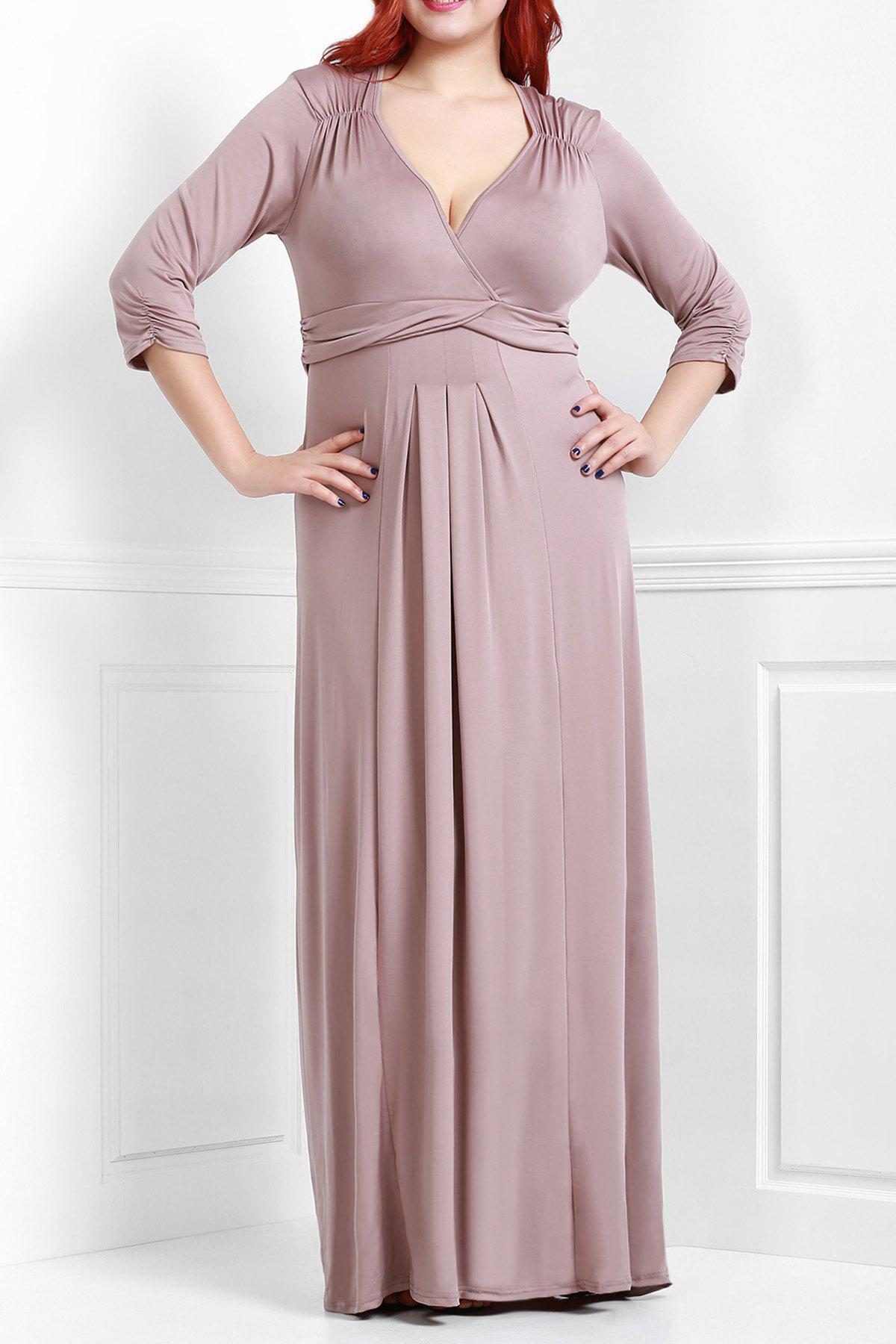 Surplice Empire Waist Maxi Dress - COFFEE 3XL