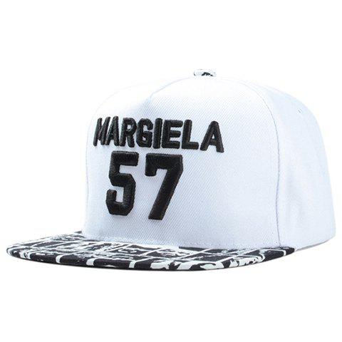 Fashionable Letters Number Embroidery Plaid Pattern Baseball Cap - WHITE