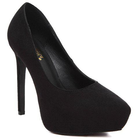 Sweet Suede and Pointed Toe Design Pumps For Women - BLACK 39
