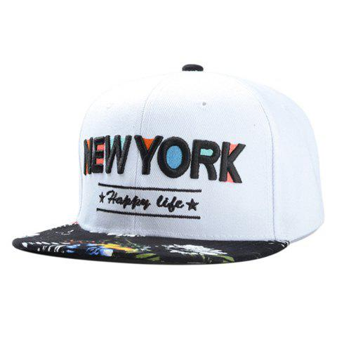 Fashionable Letters Embroidery Graffiti Pattern Baseball Cap - WHITE