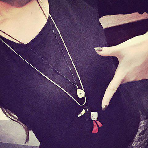 Delicate Bird Shape Two-Layered Sweater Chain For Women - BLACK