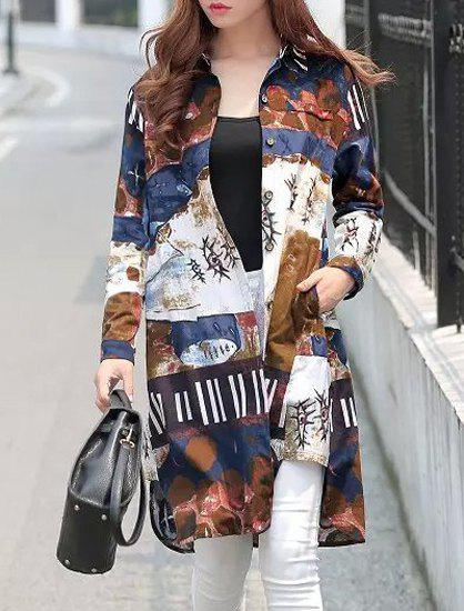 Vintage Style Shirt Collar Long Sleeve Loose-Fitting Abstract Print Women's Shirt - COLORMIX XL