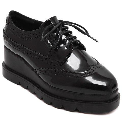 Pretty Engraving and Lace-Up Design Platform Shoes For Women - BLACK 34