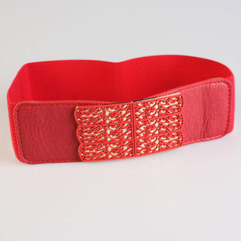 Chic Knotted Shape Embellished Women's Elastic Waistband - RED