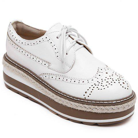 British Style Lace-Up and Engraving Design Platform Shoes For Women - WHITE 37