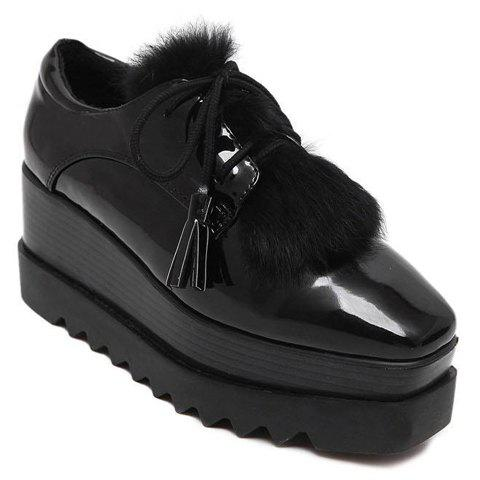 Fashion Square Toe and Lace-Up Design Platform Shoes For Women - 34 BLACK
