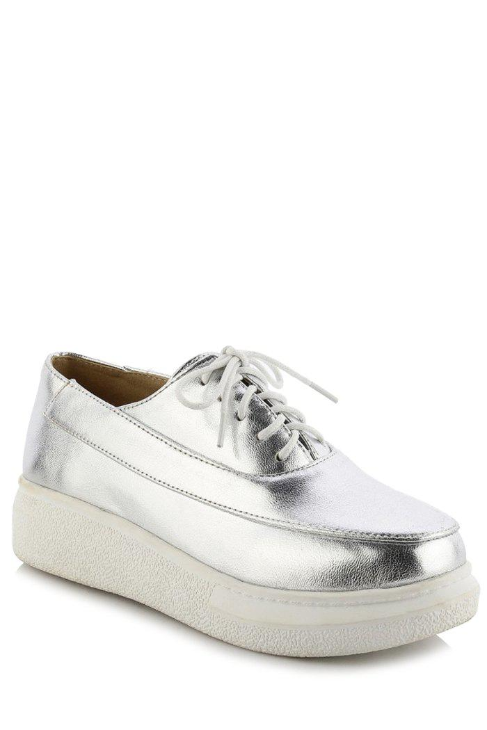 Casual Metallic Color and Lace-Up Design Platform Shoes For Women - SILVER 34