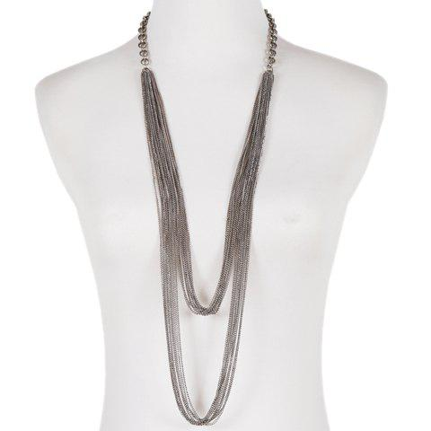 Simple Style Multilayered Link Chains Sweater Chain For Women - SILVER GRAY