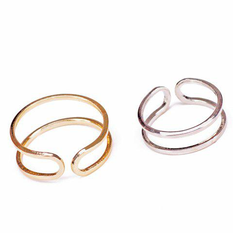2PCS Chic Layered Hollow Out Rings For Women - SILVER/GOLDEN ONE-SIZE