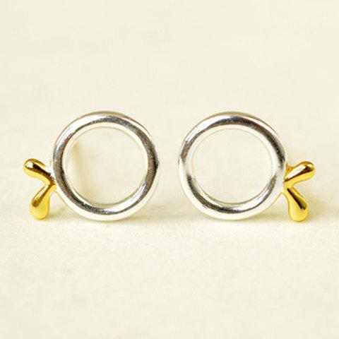 Pair of Round Hollow Out Sprout Stud Earrings - SILVER