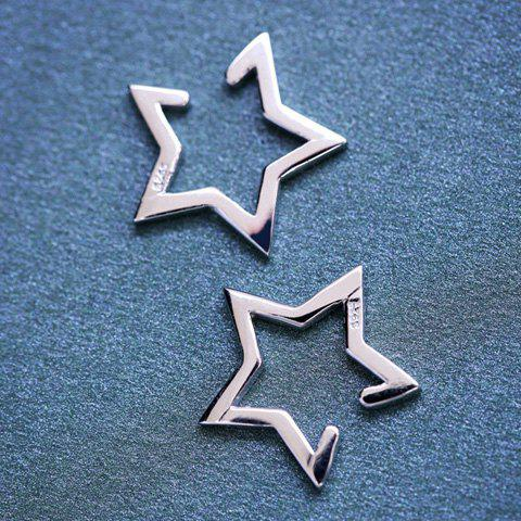 Pair of Star Shape Hollow Out Clip Earrings - SILVER