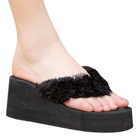 Leisure Flip Flop and Cloth Design Women's Slippers - BLACK 37
