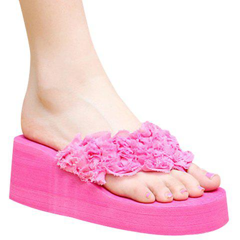 Leisure Flip Flop and Cloth Design Women's Slippers - ROSE 38