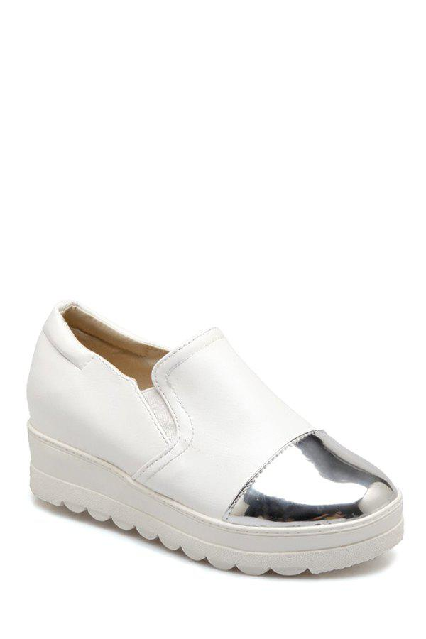 Casual Color Block and Elastic Design Platform Shoes For Women - WHITE 38
