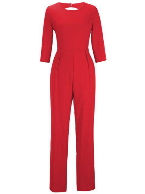 Stylish Women's Jewel Neck 3/4 Sleeve Backless Jumpsuit - RED M
