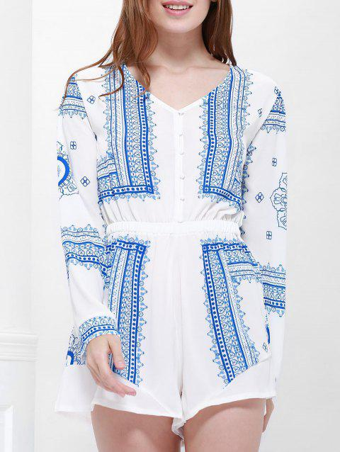Long Sleeve Printed Buttoned Playsuit - BLUE/WHITE M