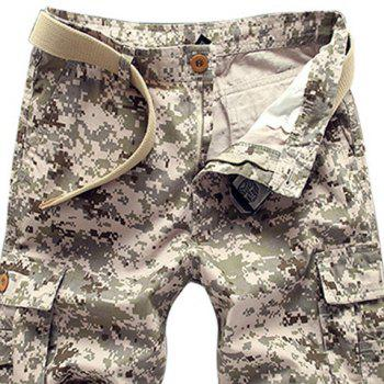 Military Style Straight Leg Multi-Pocket Zipper Fly Men's Camo Cargo Shorts - 31 31