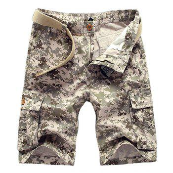 Military Style Straight Leg Multi-Pocket Zipper Fly Men's Camo Cargo Shorts