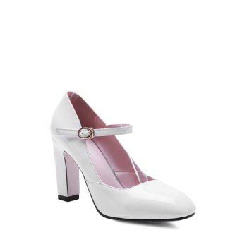 Elegant Ankle-Wrap and Chunky Heel Design Pumps For Women - WHITE 37