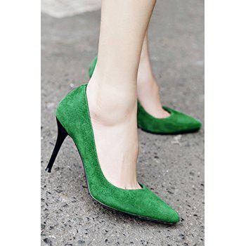Office Lady Solid Color and Stiletto Heel Design Pumps For Women - GREEN 38