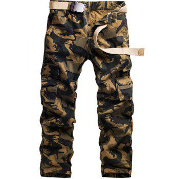 Camo Print Multi-Pocket Straight Leg Zipper Fly Men's Cargo Pants