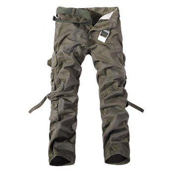 Loose Fit Multi-Pocket Solid Color Zipper Fly Straight Leg Men's Cargo Pants
