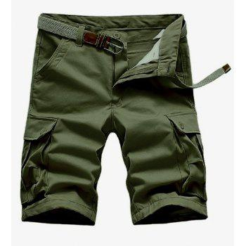 Loose Fit Straight Leg Solid Color Multi-Pocket Zipper Fly Men's Cargo Shorts - ARMY GREEN 38