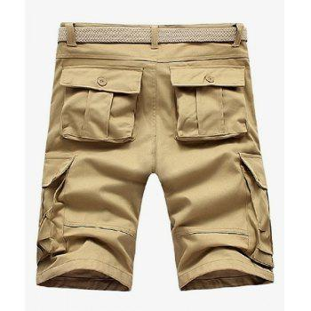 Loose Fit Straight Leg Solid Color Multi-Pocket Zipper Fly Men's Cargo Shorts - 30 30