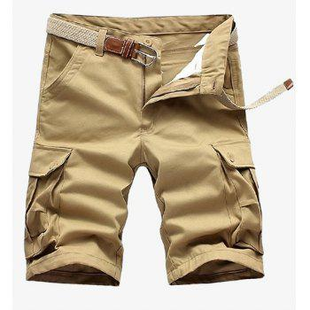 Loose Fit Straight Leg Solid Color Multi-Pocket Zipper Fly Men's Cargo Shorts - KHAKI KHAKI