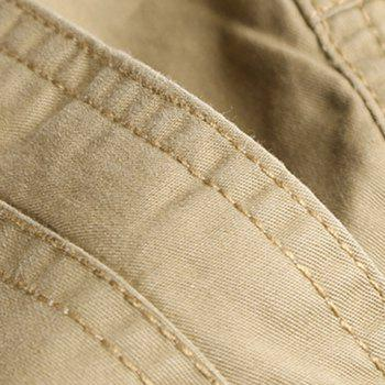 Loose Fit Straight Leg Solid Color Multi-Pocket Zipper Fly Men's Cargo Shorts - 36 36