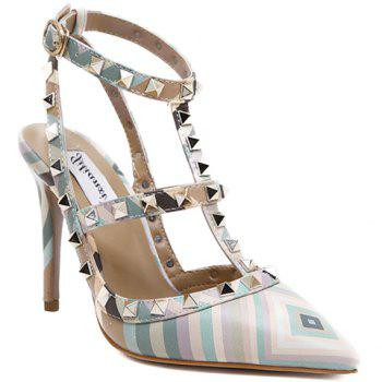 Sweet Color Block and Rivets Design Pumps For Women